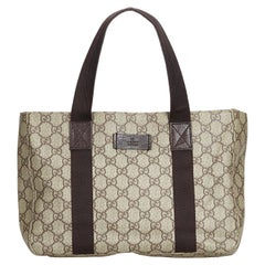 Vintage Authentic Gucci Beige PVC Plastic GG Tote Bag Italy w/ Dust Bag LARGE