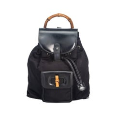 Vintage Authentic Gucci Black Bamboo Drawstring Backpack Italy SMALL