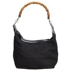 Vintage Authentic Gucci Black Bamboo Handbag Italy w Dust Bag MEDIUM