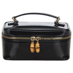 Vintage Authentic Gucci Black Bamboo Vanity Bag Italy w Box SMALL