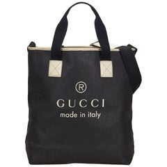 Vintage Authentic Gucci Black Black Large Logo Tote Italy LARGE