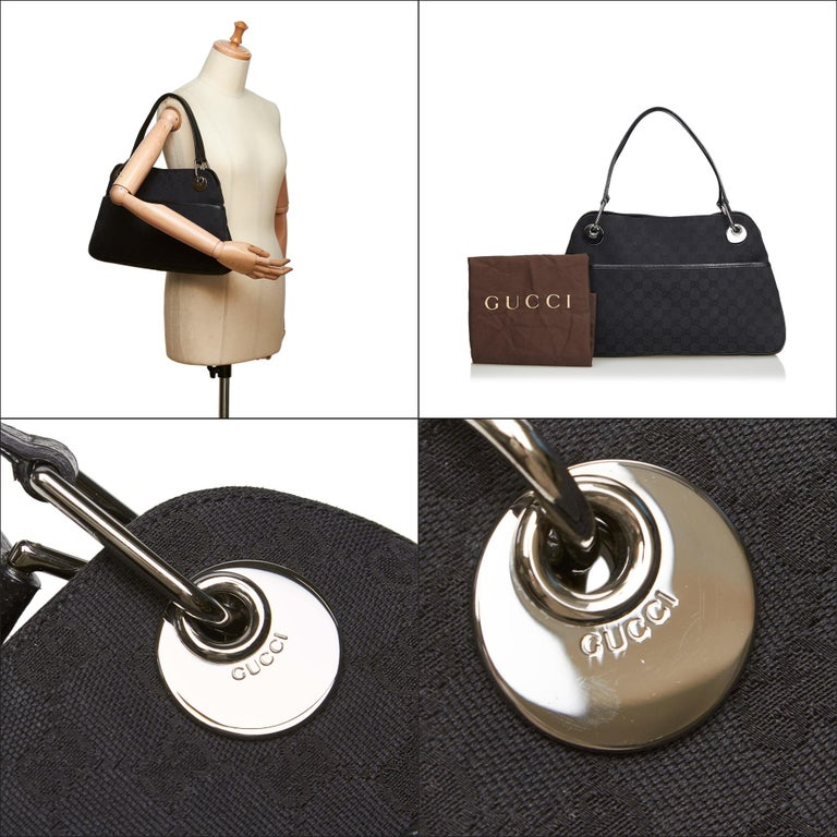 Vintage Authentic Gucci Black Canvas Fabric GG Eclipse Tote Italy LARGE  For Sale 10