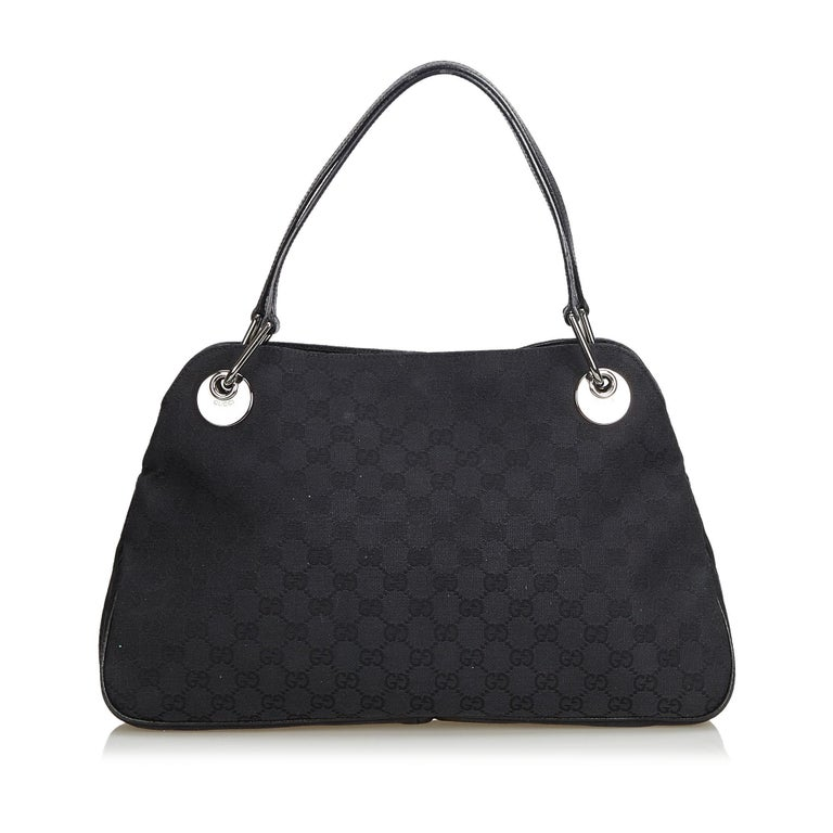 Vintage Authentic Gucci Black Canvas Fabric GG Eclipse Tote Italy LARGE  In Good Condition For Sale In Orlando, FL