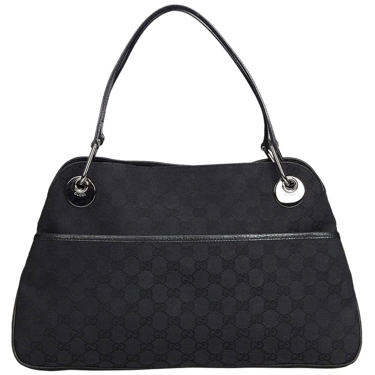 Vintage Authentic Gucci Black Canvas Fabric GG Eclipse Tote Italy LARGE  For Sale