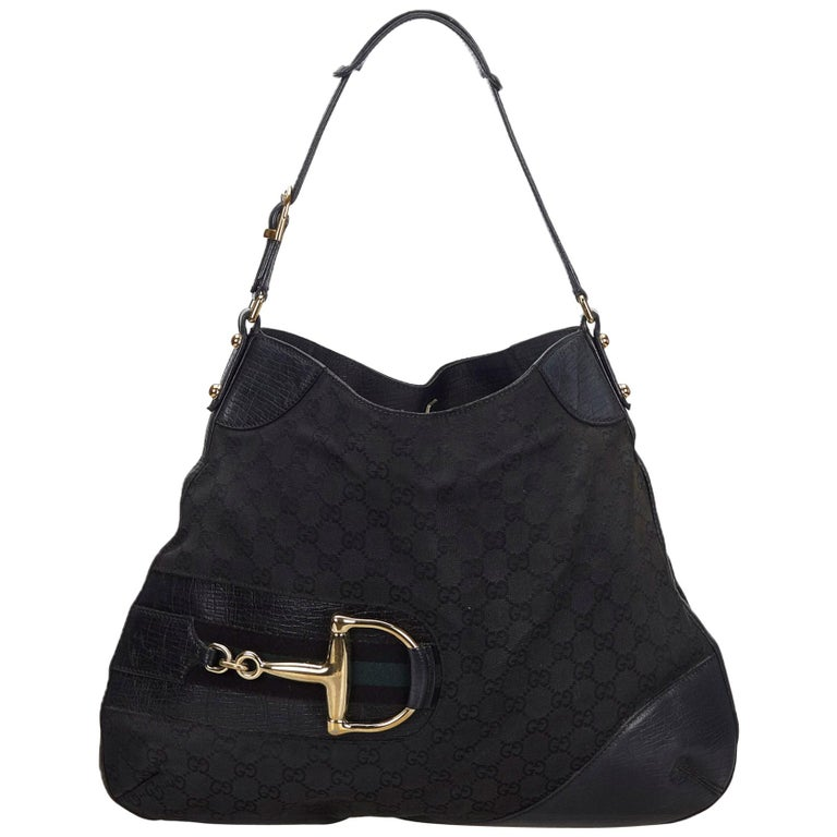 fde3e630c Vintage Authentic Gucci Black Canvas Fabric GG Hasler Hobo Bag Italy MEDIUM  For Sale