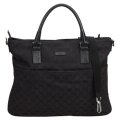Vintage Authentic Gucci Black Canvas Fabric GG Satchel ITALY LARGE