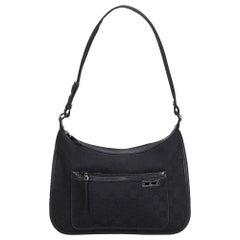 Vintage Authentic Gucci Black Canvas Fabric GG Shoulder Bag Italy MEDIUM