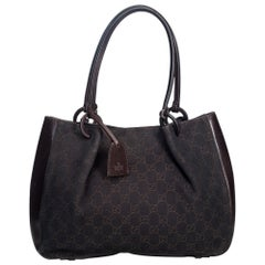 ec0f820ec Vintage Authentic Gucci Black Canvas Fabric GG Tote Bag Italy w Dust Bag  LARGE