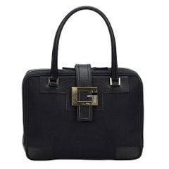 Vintage Authentic Gucci Black Canvas Fabric Handbag Italy MEDIUM