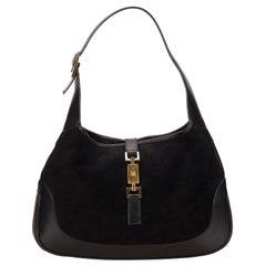 Vintage Authentic Gucci Black Canvas Fabric Jackie Italy w/ Dust Bag MEDIUM