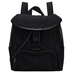 Vintage Authentic Gucci Black Canvas Fabric Mesh Backpack Italy SMALL