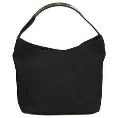 Vintage Authentic Gucci Black Canvas Fabric Shoulder Bag Italy MEDIUM