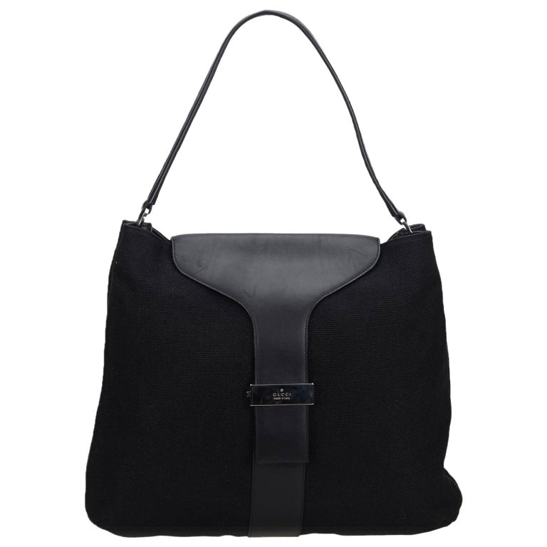 a8055457 Vintage Authentic Gucci Black Canvas Fabric Shoulder Bag Italy w Dust Bag  LARGE