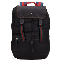 Vintage Authentic Gucci Black Canvas Fabric Techno Web Backpack Italy LARGE