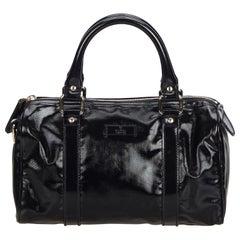 Vintage Authentic Gucci Black Coated Canvas Fabric Joy Boston Bag Italy MEDIUM