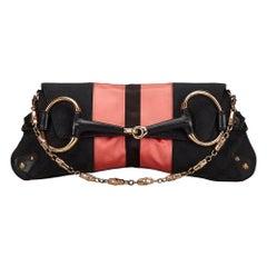 Vintage Authentic Gucci Black GG Horsebit Chain Baguette Italy LARGE