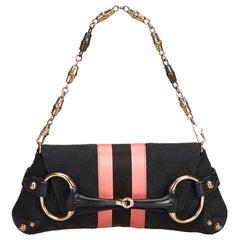 Vintage Authentic Gucci Black GG Horsebit Chain Baguette Italy w Dust Bag SMALL