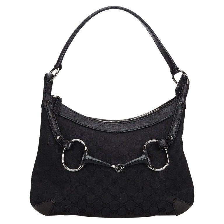 f5c23f6f Vintage Authentic Gucci Black GG Horsebit Hobo Bag Italy w Dust Bag MEDIUM