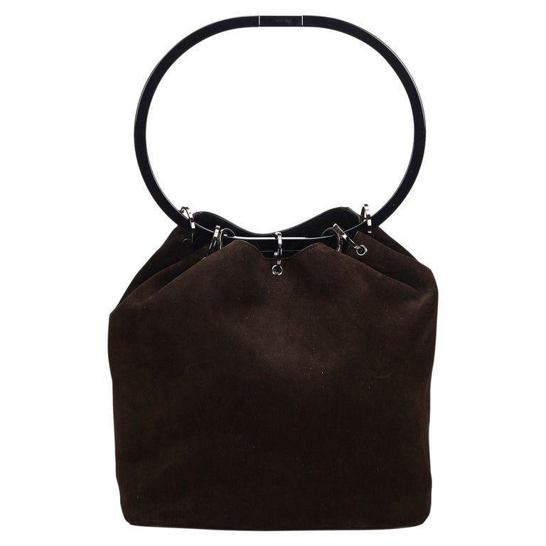 19b14a3ee9f2d Vintage Authentic Gucci Black Hoop Handbag Italy w Dust Bag MEDIUM