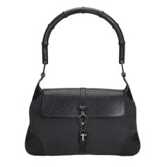 Vintage Authentic Gucci Black Jackie Handbag Italy w Dust Bag MEDIUM