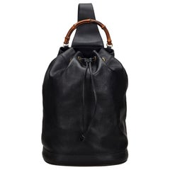 Vintage Authentic Gucci Black Leather Bamboo Drawstring Backpack Italy LARGE