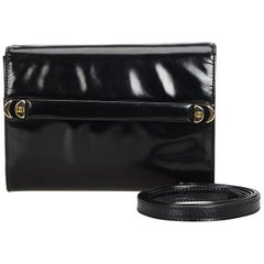 Vintage Authentic Gucci Black Leather Clutch Bag Italy SMALL