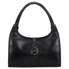 b70bf272f6 Vintage Authentic Gucci Black Leather Jackie Handbag Italy MEDIUM