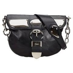 Vintage Authentic Gucci Black Leather Romy Messenger Bag Italy w MEDIUM