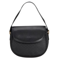 Vintage Authentic Gucci Black Leather Shoulder Bag Italy SMALL