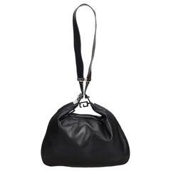 Vintage Authentic Gucci Black Leather Shoulder Bag Italy w/ Dust Bag LARGE