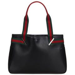 Vintage Authentic Gucci Black Leather Web Tote Bag Italy w Dust Bag LARGE