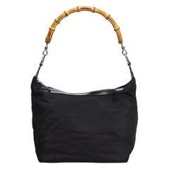 Vintage Authentic Gucci Black Nylon Fabric Bamboo Handbag Italy LARGE