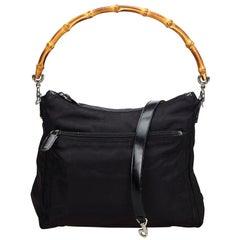 Vintage Authentic Gucci Black Nylon Fabric Bamboo Satchel Italy MEDIUM