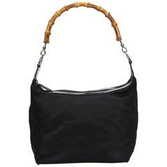 Vintage Authentic Gucci Black Nylon Fabric Bamboo Shoulder Bag Italy MEDIUM