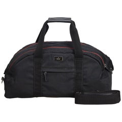 Vintage Authentic Gucci Black Nylon Fabric Duffle Bag Italy LARGE