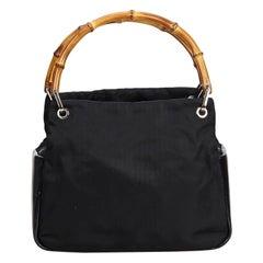 Vintage Authentic Gucci Black Nylon Fabric Gucci Bamboo Handbag Italy MEDIUM