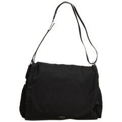 Vintage Authentic Gucci Black Nylon Fabric Messenger Bag Italy w Dust Bag LARGE