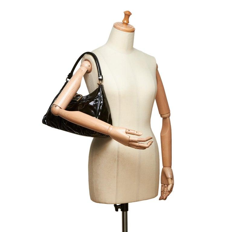 Vintage Authentic Gucci Black Patent Leather Abbey D-Ring Handbag Italy MEDIUM  6