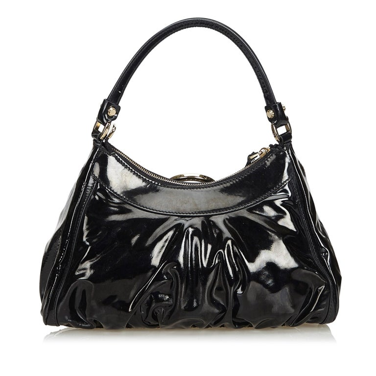 Vintage Authentic Gucci Black Patent Leather Abbey D-Ring Handbag Italy MEDIUM  In Good Condition In Orlando, FL