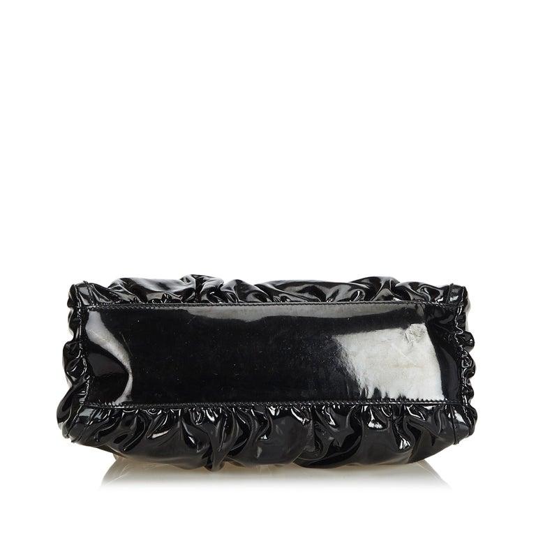 Women's Vintage Authentic Gucci Black Patent Leather Abbey D-Ring Handbag Italy MEDIUM