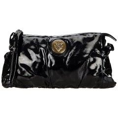 Vintage Authentic Gucci Black Patent Leather Hysteria Clutch Bag Italy SMALL