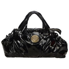 Vintage Authentic Gucci Black Patent Leather Hysteria Handbag Italy LARGE