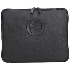 Vintage Authentic Gucci Black PVC Plastic Double G Laptop Bag Italy MEDIUM