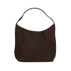 Vintage Authentic Gucci Black Suede Leather GG Shoulder Bag Italy MEDIUM