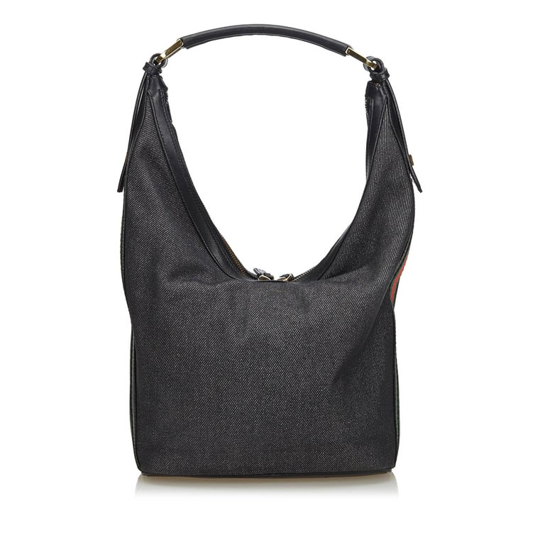 6c99c705 Vintage Authentic Gucci Black Web Shoulder Bag Italy w Dust Bag MEDIUM