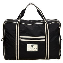 Vintage Authentic Gucci Black with White Nylon Fabric Travel Bag Italy LARGE
