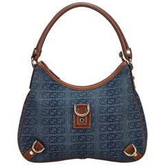 Vintage Authentic Gucci Blue Dark GG Abbey Shoulder Bag Italy LARGE