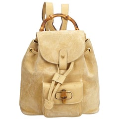 Vintage Authentic Gucci Brown Bamboo Drawstring Backpack ITALY w SMALL