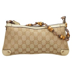 Vintage Authentic Gucci Brown Bamboo GG Baguette Italy w Dust Bag SMALL