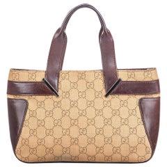 Vintage Authentic Gucci Brown Beige Canvas Fabric GG Handbag ITALY MEDIUM